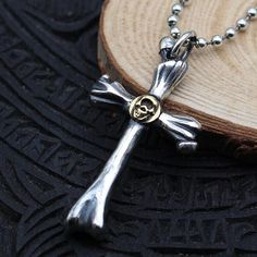 """Men's Sterling Silver Skull Cross Necklace with Sterling Silver Bead Chain 18""""-30"""""""