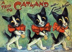 Louis Wain - I would accompany these fine cats to Catland.