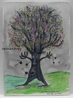 BAUMOPER - von Herbivore11 Baum Oper Bild Zeichnung Bäume Kunst Unikat Sänger