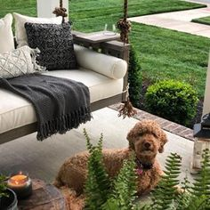 Mondays are anything but ruff in our Sunday Porch Swing (with Tray Table!) Shop in bio. Porch Furniture, Outdoor Furniture Sets, Outdoor Decor, Gallery Wall Living Room Couch, New York Townhouse, Deep Seat Cushions, Southern Living Homes, Global Style, Ballard Designs
