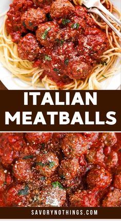 Easy Italian Meatballs are juicy homemade beef meatballs baked in a simple tomato sauce. You will not believe how quick these are to make - all from scratch! Full of healthy real food ingredients and absolutely kid friendly. Serve them with spaghetti and a salad for a delicious dinner the whole family will love! | #beef #recipe #easyrecipes #beefrecipes #meatballs #dinner #easydinner #kidfriendly #comfortfood Easy Chicken Recipes, Meat Recipes, Pasta Recipes, Real Food Recipes, Easy Italian Meatballs, How To Make Meatballs, Italian Foods, Italian Recipes, Quick Summer Meals