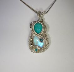 Amazonite, Moonstone, Apatite and Sterling Silver Wire Wrapped Pendant