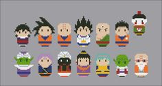Dragon Ball Z parody Cross stitch PDF pattern by cloudsfactory /  Gohan, Goku, Krillin (Kuririn), Vegeta, Tien Shinhan, Yamcha Piccolo, Trunks, Popo, Chi-Chi, Bulma, Dende and Kame-Sen'nin (turtle hermit)