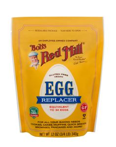 Bob's Red Mill Gluten Free Egg Replacer is a vegan baking essential made with four simple and clean ingredients: potato starch, tapioca flour, baking soda, and Gluten Free Cooking, Vegan Gluten Free, Gluten Free Recipes, Vegan Recipes, Dairy Free, Vegan Meals, Tasty Meals, Skinny Recipes, Nut Free