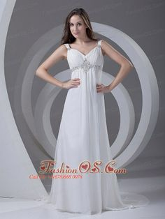 Beading Chiffon Romantic Court Train Straps Empire Wedding Dress  http://www.fashionos.com/  http://www.facebook.com/quinceaneradress.fashionos.us  You will not regret if you choose this dress for your wedding. It is characterized by a glamourous bodice, which looks like a flower in bloom. The straps of this dress looks brandly new. The stunning skirt flatters your figure extremely well.
