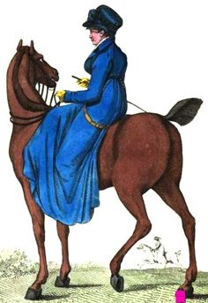 1807. Riding Habit, English.  Gorgeous blue horse riding habit with long train to cover her legs and the side saddle, shawl collar, high white shirt, yellow gloves, blue and black hat, and carrying a whip.  Fashion Plate via John Belle's La Belle Assemblee.     suzilove.com