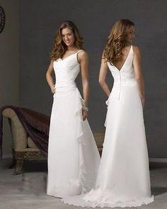 New White/Ivory V-neck Beach Chiffon Bridal Wedding Dress/Gown Custom Size