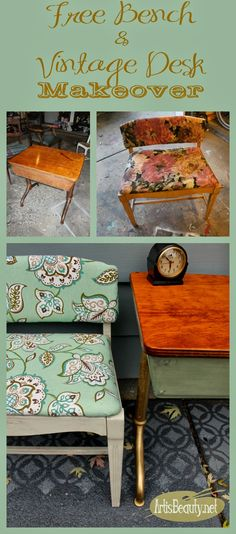 Not so PERFECT Vintage Desk and Free Vanity Bench Makeover