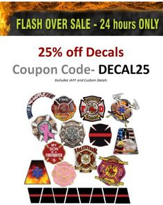 Flashover sale ends Check it out before it's over! Firefighter Mask, Firefighter Decals, Custom Decals, Vinyl Decals, Fire Helmet, Custom Flags, Coupon Codes, Check, Projects