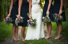 Navy blue with wildflowers -- April Bennett Photography -- Weddings