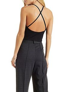 Strappy Bib Neck Top: Charlotte Russe