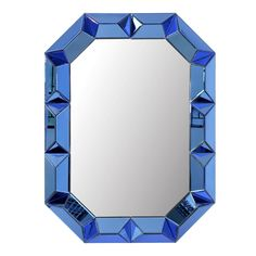 Bungalow 5 Romano Mirror with Mirrored Wood Frame in Sapphire Blue Blue Wall Mirrors, Mirror Art, Wood Mirror, Beveled Mirror, Octagon Mirror, Framed Mirrors, Rustic Mirrors, Wood Wall, Bungalow 5