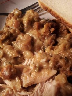 Crockpot Chicken & Stuffing:  4-6 Chicken breasts  1 box stuffing  1 can Cream of Chicken soup  8oz container sour cream