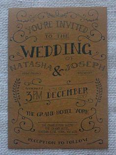 Vintage Shabby Chic Personalised Wedding Invitations: Day Evening Invites RSVP
