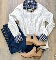ShopStyle Look by KeciaDailey featuring Rib-Knit Sweater for Women and Gingham classic button-down shirt in boy fit Preppy Outfits, Preppy Style, Fashion Outfits, My Style, Womens Fashion, Fashion 2016, Fashion Tips, Look Fashion, Winter Fashion