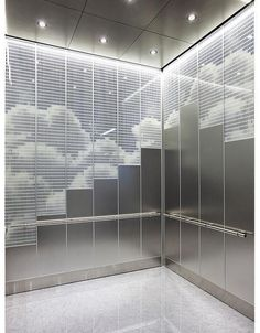 Elevator Interior shown with upper panels in ViviGraphix Spectra glass with Skylight interlayer and Standard finish; lower panels in Stainless Steel with Seastone finish; Lobby Interior, Interior Design, Elevator Design, Donor Wall, Elevator Lobby, Stainless Steel Sheet, Environmental Graphic Design, Hospital Design, Stone Flooring