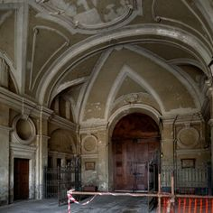 """Manicomio di Collegno, interior of the front gate building. This large complex of buildings situated in the town of Collegno Italy was originally a """"Certosa,"""" an Italian word for a Carthusian monastery."""