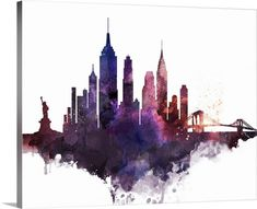 """Watercolor painting of the New York City skyline. """"New York City Watercolor Cityscape II"""" wall art  by Circle Art Group from Great BIG Canvas"""