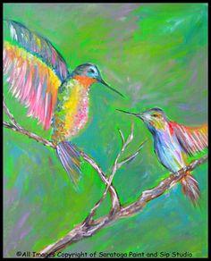 HUMMINGBIRDS at Saratoga Paint and Sip Studio!!!