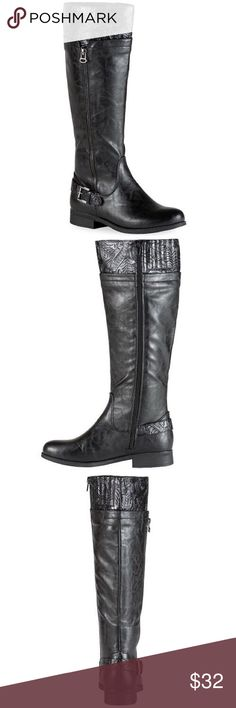 """Black Riding Boots New Tags, Purchased From Kohls Department Store, easy street Burke riding boots, faux leather full length inside zipper, Buckle Detail, padded footbed, Round Toe -1"""" heel, 15.89"""" shaft, 15.58"""" circumference kohls/easy street burke  Shoes Heeled Boots"""