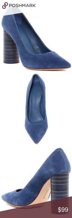 c7423967a27 Pour La Victoire Cece Blue Suede Block Heel Pumps A stacked round block heel  creates the