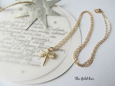 Dragonfly Necklace - Gold Dragonfly Necklace -14K Gold Chain - Layered Necklace -Delicate Minimal Gold Jewelry - 'Dragonfly' by TheGoldBar on Etsy