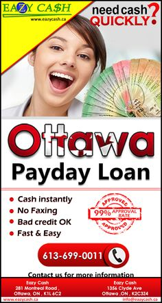 Cash your on lowest rate visit us at   eazy Cash 281 Montreal Road ,Ottawa