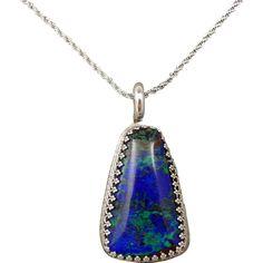 Azurite-Malachite Sterling Silver Pendant Necklace found at www.rubylane.com @rubylanecom