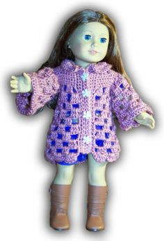 """ADORABLE COLLARED COAT CROCHET PATTERN - FITS 18"""" GIRL DOLLS or AMERICAN GIRL DOLLS. $4.00"""