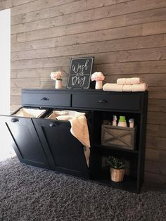 laundry hamper with storage drawers and shelf