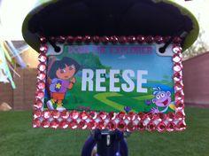 Little Girls Dora the Explorer  bike plate with bling!