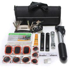 ENHANCED Bike Bicycle Tire Multi-use Repair Tools Mini Pump Kits Bag #bicyclerepairtools