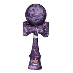 Full Marble Purple Rubberized Super Kendama, Super Sticky, Japanese Wooden Toy, Free String, USA Seller