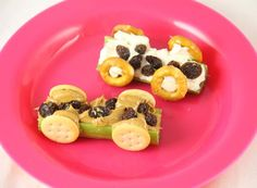 This snack is fun to play with and eat! Race your healthy celery race cars then enjoy munching on them.