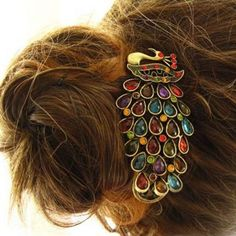 Colorful Rhinestone Inlaid Retro Peacock Style Hairpin