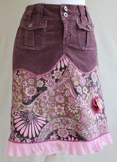 Up-cycled Flowery Stretch Corduroy Skirt With by MozingoAndTolk