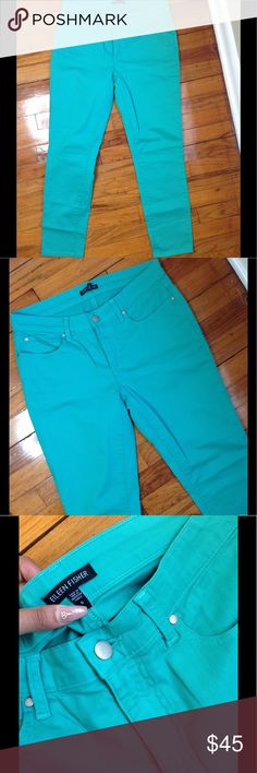 Eileen Fisher sea foam green skinny jeans Not sure if these were ever worn, maybe once. Stretchy, skinny, look darker in person. Eileen Fisher Jeans Skinny