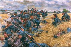 Civil War Art A Desperate Stand New York Infantry Gettysburg Syrian Civil War, Civil War Art, Military Art, Military History, Military Service, American Civil War, American History, Gettysburg Battlefield, Union Army