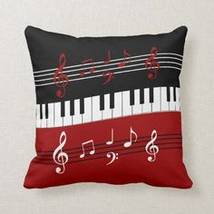Decorative Cushion Cover Stylish Red Black White Piano Keys and Notes Throw Pillow Case Inchess