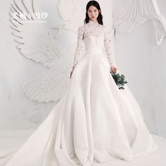 Wedding dress new 2017 spring and summer retro lace long sleeve collar collar braised satin long tail wedding
