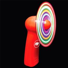Try not to get dizzy while cooling off with this fan. This fan has a red hard plastic body that you can hold in the palm of your hand. The multi colored LED lights flash into a cavalcade of patterns that can put you in a daze once the fan is powered on. Two AA batteries are included and pad printing is available for your company logo to go onto the front of the fan. Be cool literally with this hot novelty fan. Get your fan today!