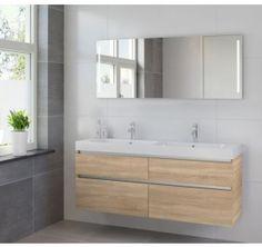 Modern badkamer meubel: stoere grote wastafel en losse wastafel kast ...