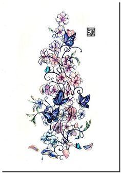 Tatuagem Feminina Borboleta e Flores