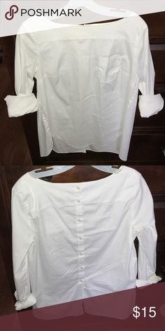 Loft boat neck button back Stretchy cotton. Great condition. Long sleeves and button back LOFT Tops Blouses