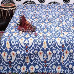 Queen Indigo Blue Paisley Kantha Quilt Ikat Throw India Handmade Cotton Bedding | eBay