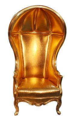 GOLD BALLOON CHAIR | Go back in time and sit on a modern throne. This classic Philippe Starck style neo-baroque chair exudes sheer presence. The high back is perfectly curved into a dome-like throne that organically transforms into an oversized armchair. The solid wood foundation is ornately carved to take you back to the days is kings and queens. With one look at this elegant armchair, you will feel the power of modern royalty. Order yours before it's too late.