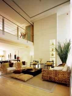 Great room with Asian theme