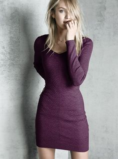 Ribbed V-Neck Dress A Kiss of Cashmere - dress it up or down with knee-high boots or cozy UGGs.
