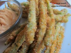 crunchy fried green beans with chili garlic mayo