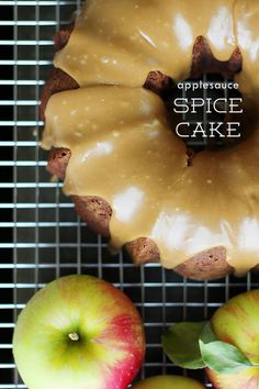 Applesauce Pumpkin Spice Cake: remove the eggs and oil and substitute a can of pumpkin Apple Dessert Recipes, Apple Recipes, Fall Recipes, Sweet Recipes, Baking Recipes, Delicious Desserts, Cranberry Recipes, Amish Recipes, Fall Desserts